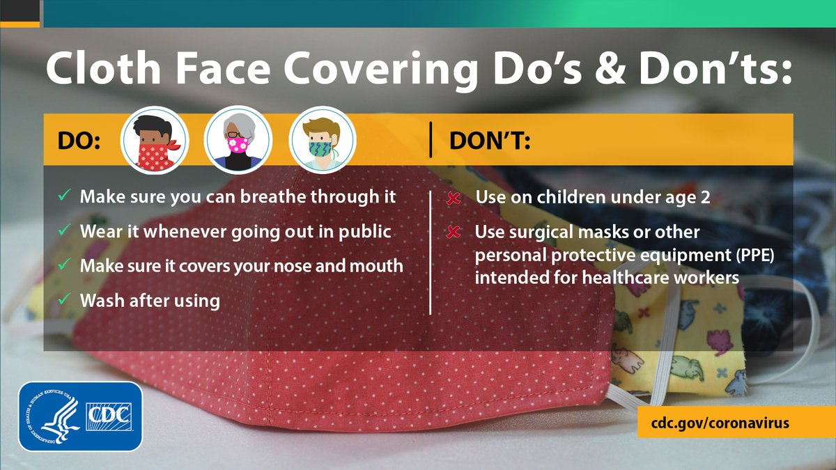 "U.S. Surgeon General on Twitter: ""Wearing a cloth face covering ..."