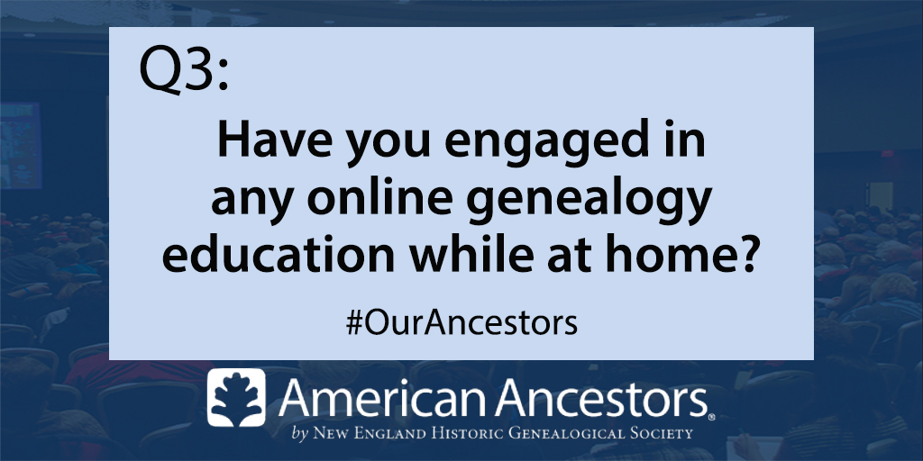 A3. Yes, RootsTech archived sessions. Looking forward to participating in upcoming Your DNA Guide webinar with Diahan Southard on Thursday of this week. #OurAncestors