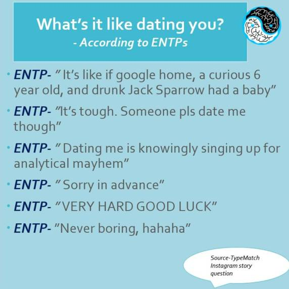 """TypeMatch on Twitter: """"More great reviews from ENTPs on what it's like  dating them. #entp #entpproblems #entppersonality #mbtimemes #entpfemale…  https://t.co/Pi723hqaLR"""""""