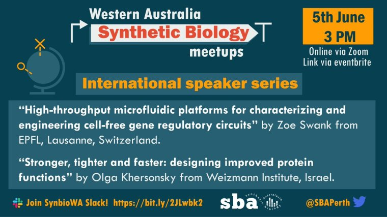 Don't forget to catch @SbaPerth this Friday for their first #international speaker series! See this thread to register!  #synbio #microfluidics #proteins #cellfreesystems   (5pm AEST or 3pm AWST)