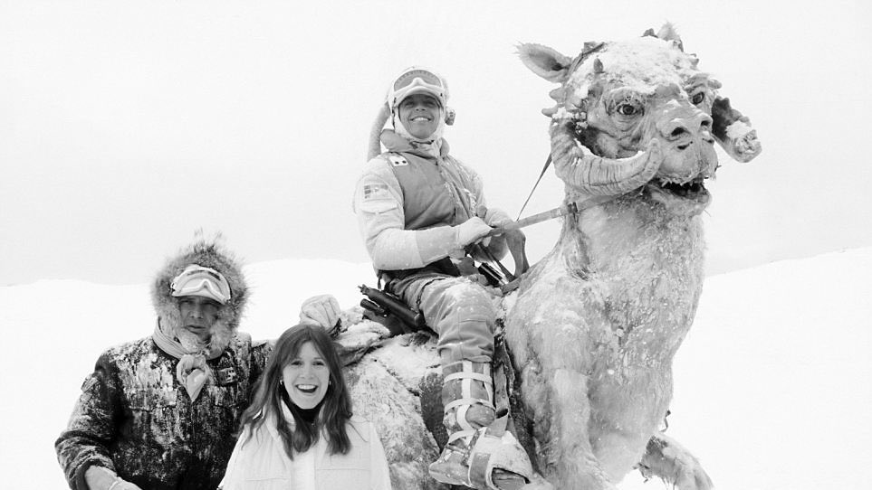 Harrison Ford, Carrie Fisher, Mark Hamill and Tautaun
