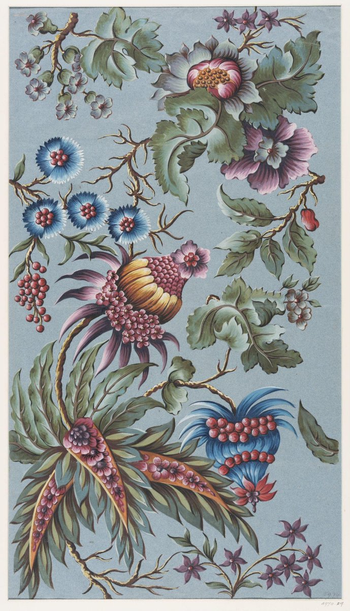 Design for a woven silk by Anna Maria Garthwaite, series 5974 French Patterns, Spitalfields, London, c.1739 - green, blue, mauve, and gold florals, reminiscent of some chintz patterns, but with an organic design. Via V&A