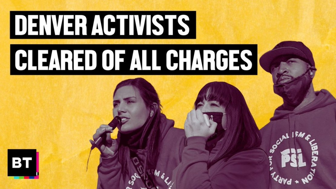 """BreakThrough News on Twitter: """"BREAKING: All charges have been dropped  against anti-racist activists who organized mass #JusticeForElijahMcClain  protests in Denver In 2020 they were arrested, jailed and hit with dozens  of false"""