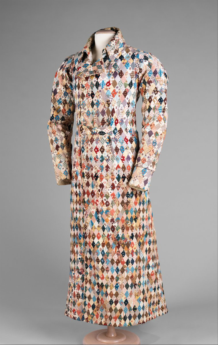 From the Met - The dressing gown featured here is an extraordinary piece of hand work. The use of many different lively roller print patterns gives it an eye popping appeal and makes this piece a sampler of the various patterning from this period. Roller printing was introduced and then patented in 1783 in an attempt to reduce the cost of copperplate printing as well as to ease the printing process of small, repeat patterns.