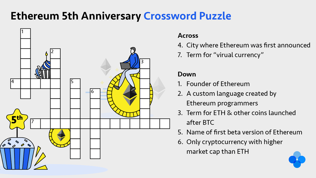Celebrate #ETH5 with @OKEx, solve this crossword puzzle to win   To enter: 1&#x... 2