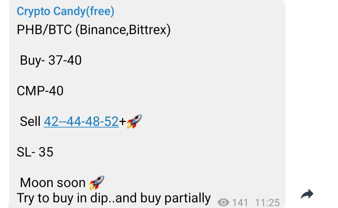 $phb #phb  given at 40 touch 44 its 10% in 9hrs rocking guys Join  Crypto Candy(... 2