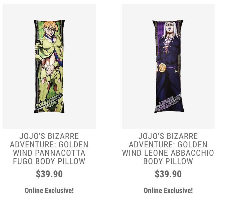 hot topic selling jojo body pillows
