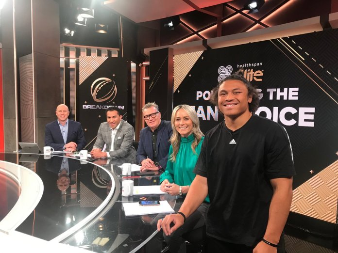Caleb Clarke could be the nicest young footy player i've ever met.... grabbed him for an #NRL conversation...he's a @SSFCRABBITOHS fan... and is tipping (drumroll...) @PenrithPanthers. @skysportnz