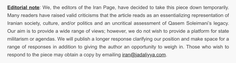 I read the essay, the author gave voice to the millions of Iranians who filled the streets to mourn Soleimani after his assassination, and who honored him for defending Iran from ISIS & the imperial forces behind it.  This seems to be why it was censored after publication. https://t.co/i7qEUlgCFo