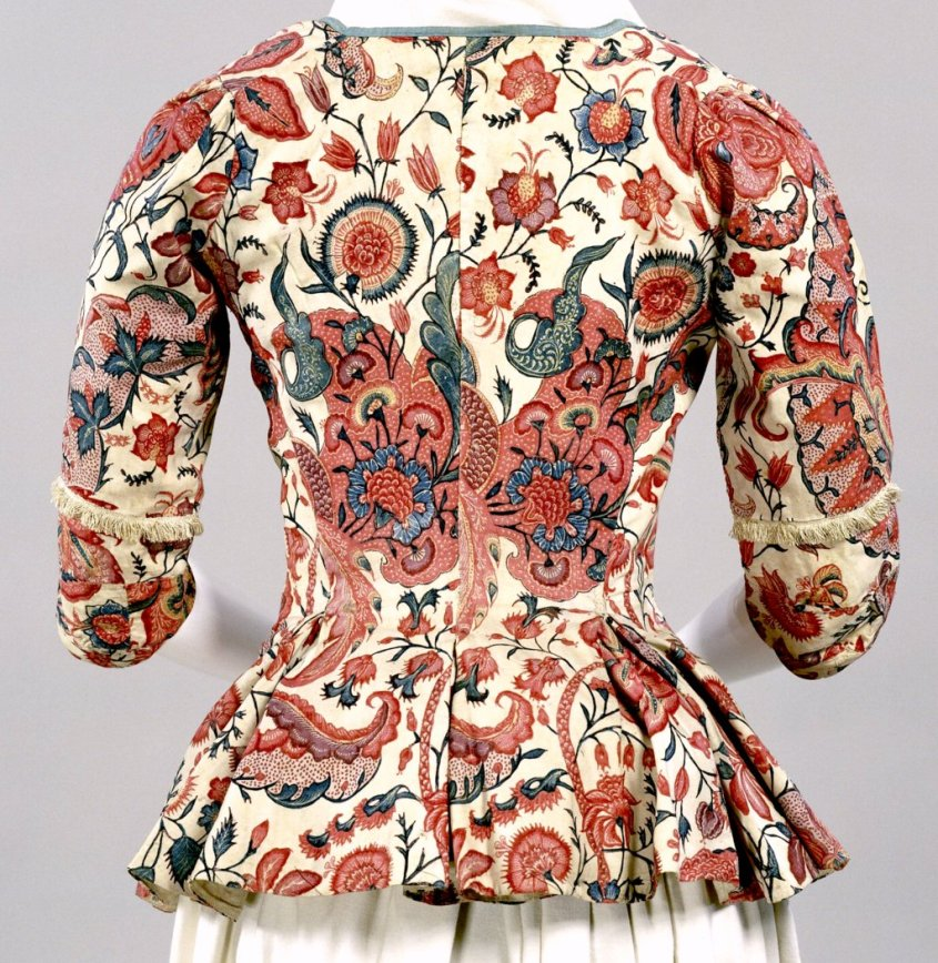 Floral bodice ca. 1750 in chintz pattern. Public domain.