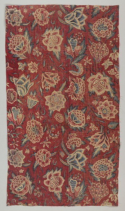 Various flowers with trailing stems on a red ground. Public Domain. 18th century.