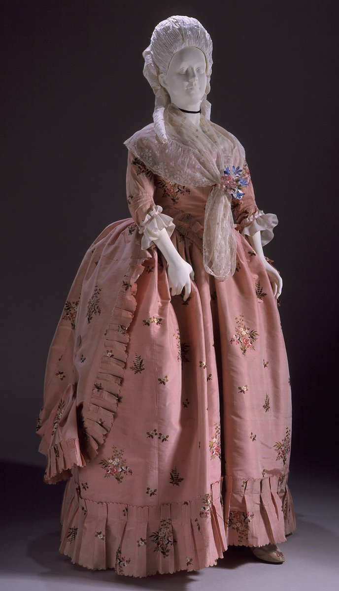 Robe à la Française - Date: 1760–70 - Pink taffeta gown with shawl and bustle - Public Domain