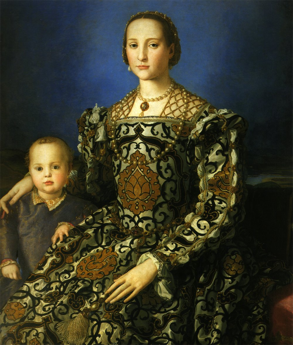 Lady Bronzino and Son - 16th century - public domain -- a woman in a very ornate, Italian Renaissance gown of gold, grey, and black, with her tddler son beside her