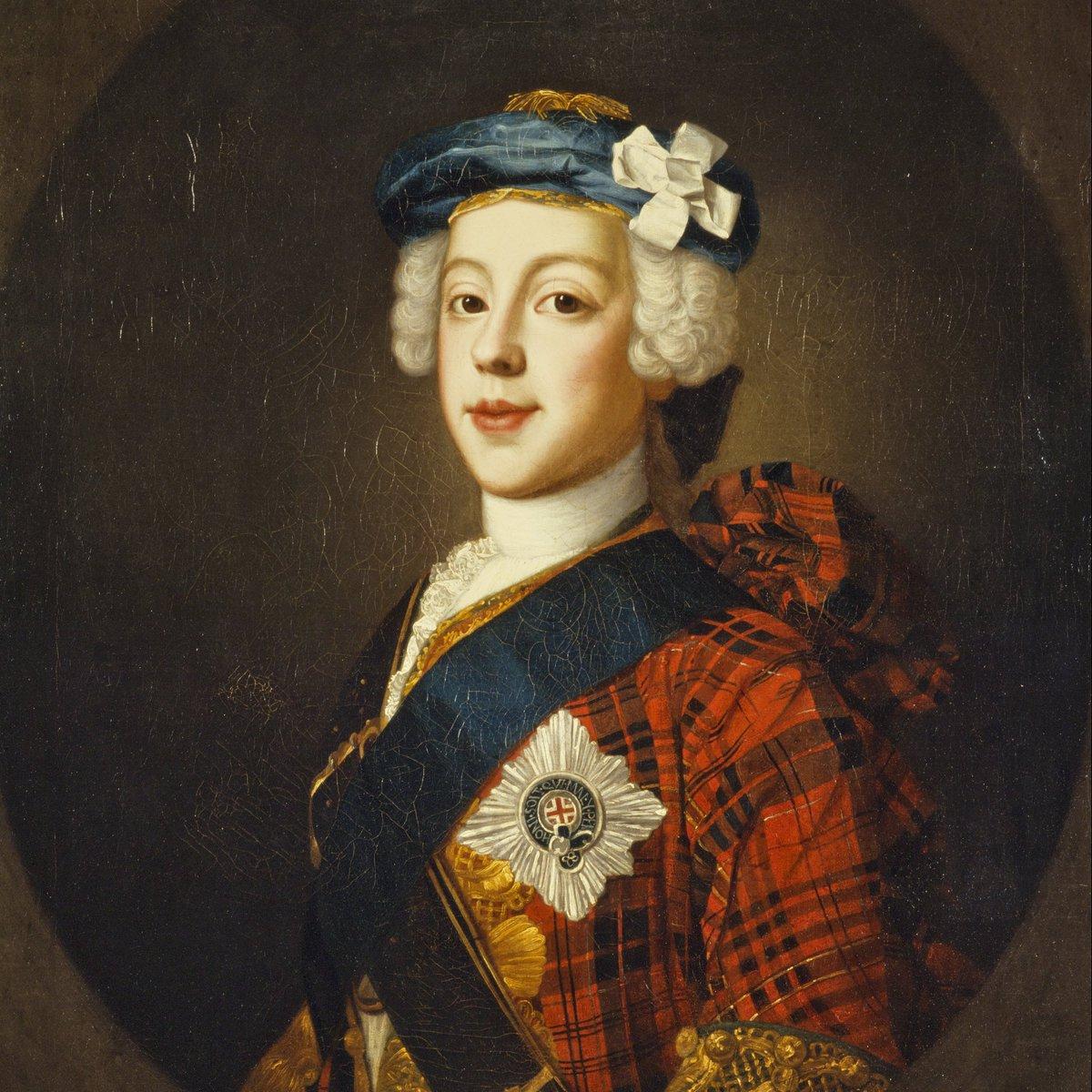 Portrait of Bonnie Prince Charlie in very fancy tartan attire.