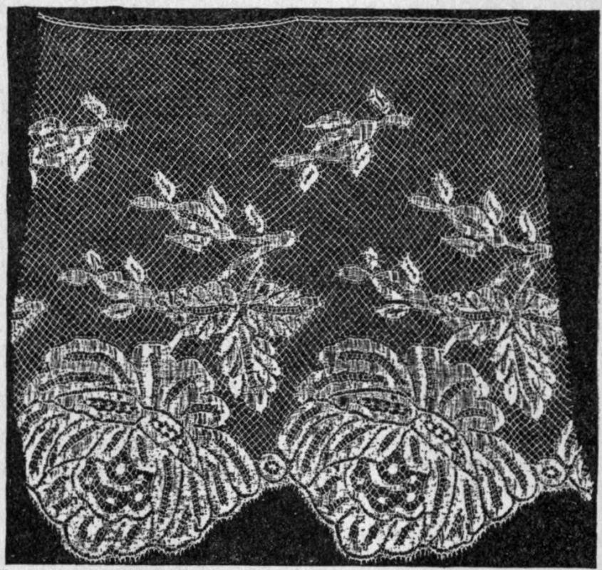 Fig. 54.--A Piece of Hand-made Pillow Lace, Belgian (Ypres), 20th century. (The machine imitation is given in fig. 55.) Illustration from 1911 Encyclopædia Britannica, article Lace.
