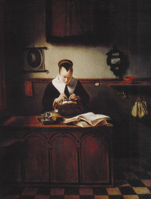 Nicolaes Maes, Lacemaker - public domain; woman in dark room, making lace.