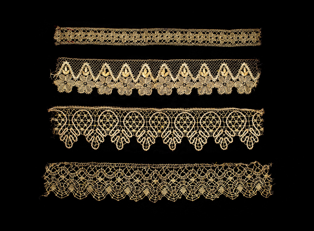 Metallic gold lace edgings - Edgings late 1800s–early 1900s metallic goldbobbin lace FranceCollection of Lac is Museum of Lace and Textiles, Berkeley, CAJTB23789L2013.3501.057, JTB23779, JTB23791, JTB23775L2013.3501.057, 058, .059, .095