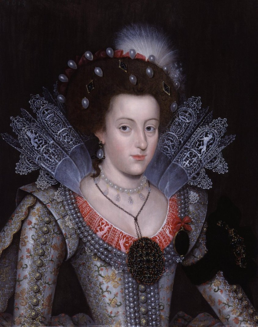 Princess Elizabeth Stuart, later Queen of Bohemia, wearing a reticella collar worked with the English royal coat of arms,[1] unknown artist, 1613, National Portrait Gallery, London.
