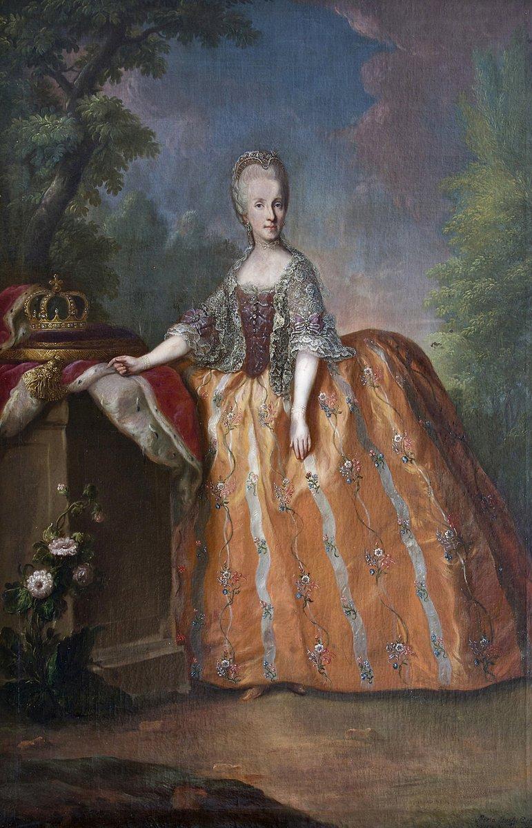 Princesse Marie Caroline Auguste de Bourbon-Deux Siciles - public domain  Rococo style dress with ornate shawl and lace details.