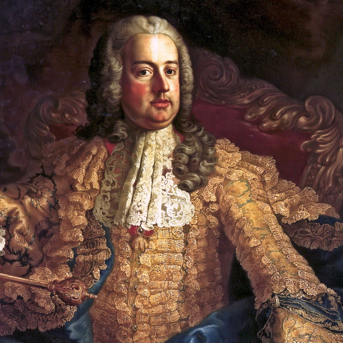 Franz I, Holy Roman Emperor - slowly being eaten by lace. Public domain.