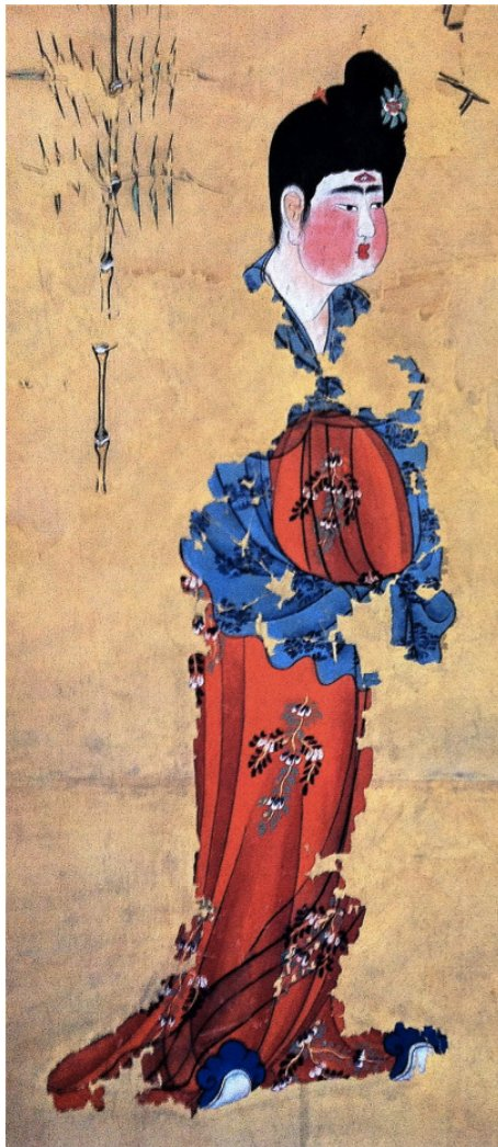 Tang dynasty drawing with the blue likely damask. Image via Dr. Chen.