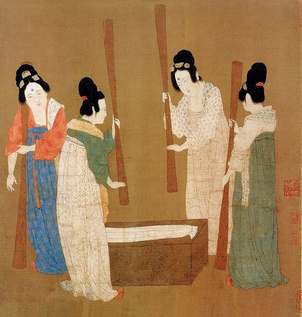 More women making and preparing silk, all wearing what could very well be damask robes.
