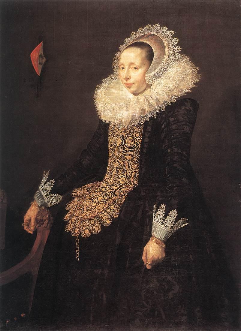 Paulus van Beresteyns vrouw Catharina Both van der Eem  - woman with ruff and damask gown in black.