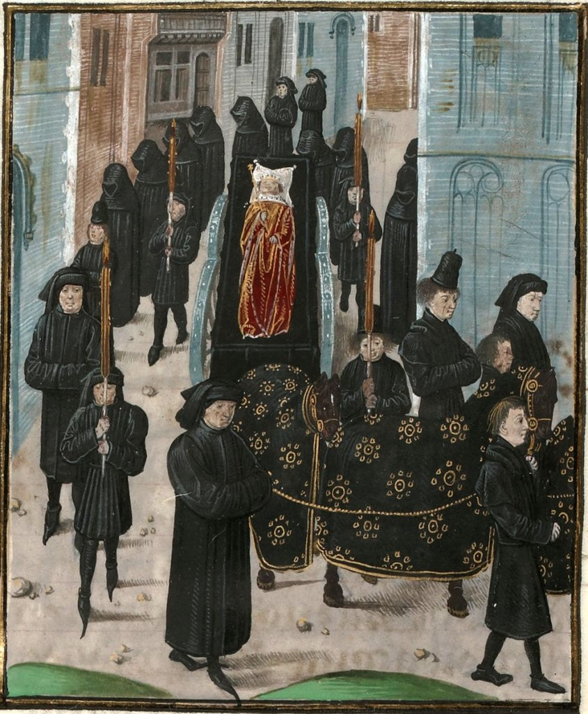 Funeral of Richard II the Lionheart, surrounded by black-velveted folks, in a splendid red and gold.