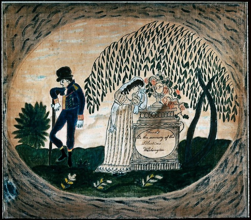 A memorial painting in folk art for George Washington, on velvet with watercolors. From Boston MFA collections.
