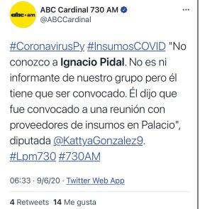 """Ignacio Pidal on Twitter: """"No señor yo denuncié desde el tapabocas de oro, las compras de china y hasta el avión cuando llegaban Carlitos fue el diputado que se acercó a mi"""