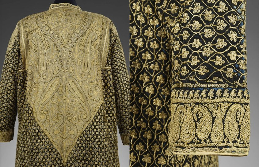 Robe, wool and silk with gold embroidery, makers unknown, about 1855, Amritsar, India. Museum no. 0197(IS). © Victoria and Albert Museum, London - incredibly intricate gold embroidery on a man's jacket with paisley.