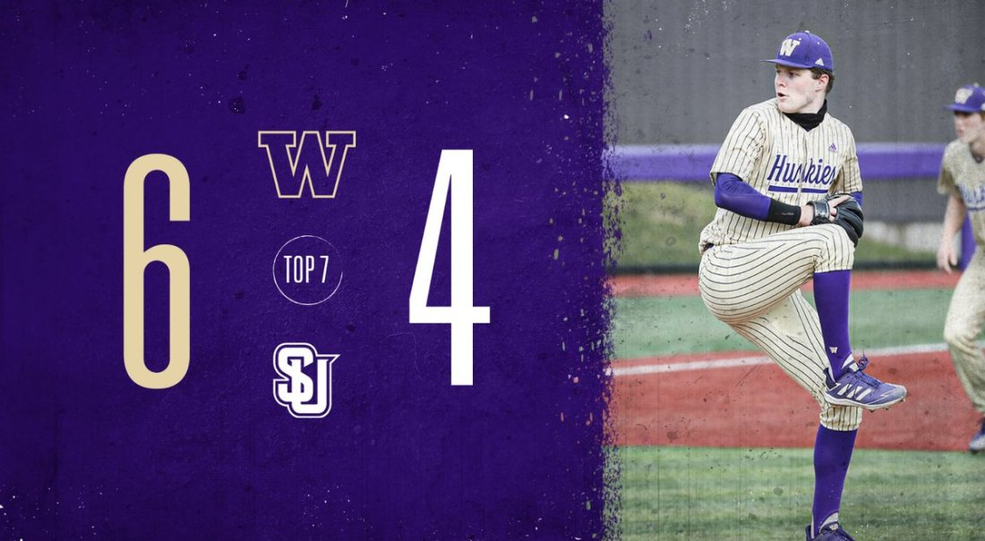 test Twitter Media - B6 | Dawgs hang a 4-spot in the bottom of the 6th, capped off by a Will Simpson bases-loaded walk, to take a two-run lead over Seattle U!  Stefan Raeth stays in the game for the top of the 7th.  💻 https://t.co/6O5GqDUs3k 📊 https://t.co/Q3iKSRywd8  #DaWgStrong /// #GoHuskies https://t.co/fht2dhyS9o