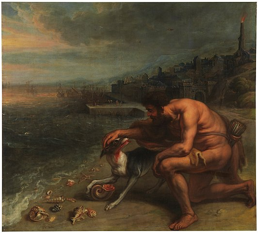 """""""The Discovery of Purple,"""" by Peter Paul Rubens, 1636. Muscular Hercules petting his dog, whose mouth is covered in reddish/purple snail mucus, and apparently this was A Big Deal. There is a churning sea and a tree or tower on fire behind him. He's not wearing much in the way of clothing. But he has a beard. The dog is cute. There are snails on the beach, too! Public Domain."""