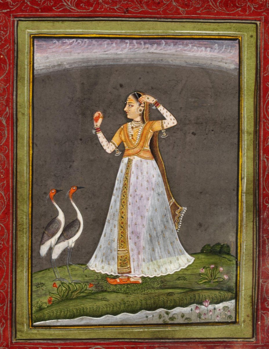 (c)Victoria and Albert Museum, London - Painting, in opaque watercolour on paper, a lady awaiting her lover, about to cast off her ornaments (possibly an illustration to Vipralabdha Nayika), approached by two sarus cranes.