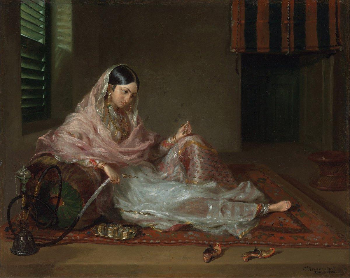 A woman in fine Bengali muslin; reclining. Dhaka, 18th-century. Public domain.