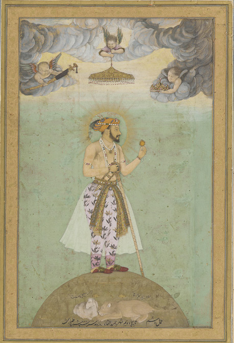 The Emperor Shah Jahan standing on a globe, with a halo and European-style putti, c. 1618–19 to 1629. - wearing a translucent muslin drape over his legs. Public domain.
