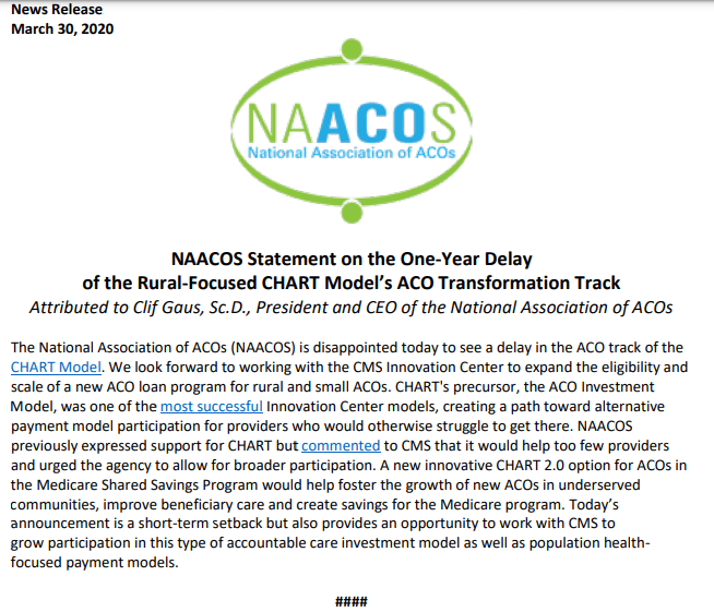 The National Association Of Acos On Twitter Naacosnews Issued The Below Statement In Reaction To Cmsinnovates Announcement Today That It Would Delay Accepting Applications For The Aco Track Of Its Chart Model