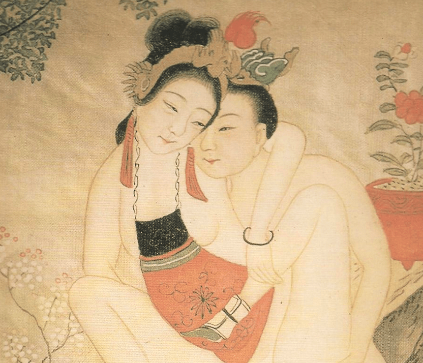 """A woman and a man """"embracing enthusiastically"""" -- the woman is wearing one of the traditional undergarments of the Ming Dynasty, a kind of apron that covers her front. There is a camellia behind them, I think. via Wikimedia commons."""