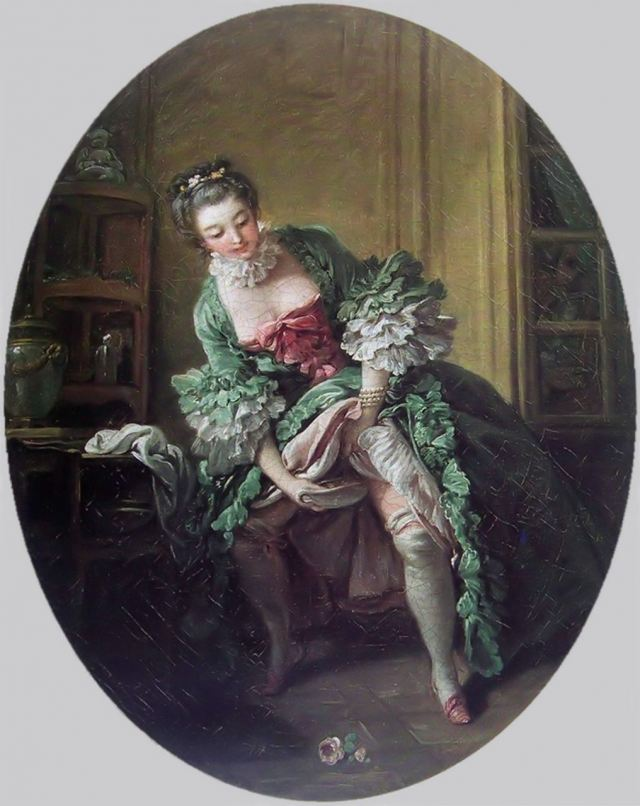A woman in voluminous petticoats relieving herself discreetly with the use of a bourdelou.