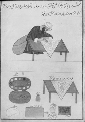 From the article referenced above -- a shawl maker illustration designing the fabric with a stylus and paints.