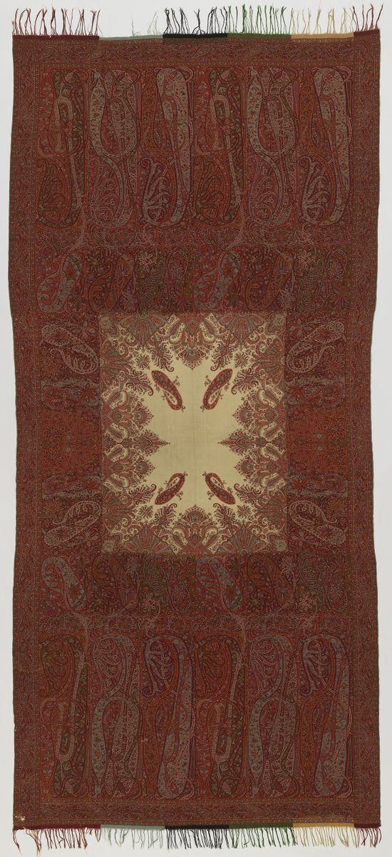 Shawl of 1840–1850 - an industrialized mass-produced version of a pashmina shawl from Paisley, Scotland. You can see the boteh motifs, though rendered somewhat differently.
