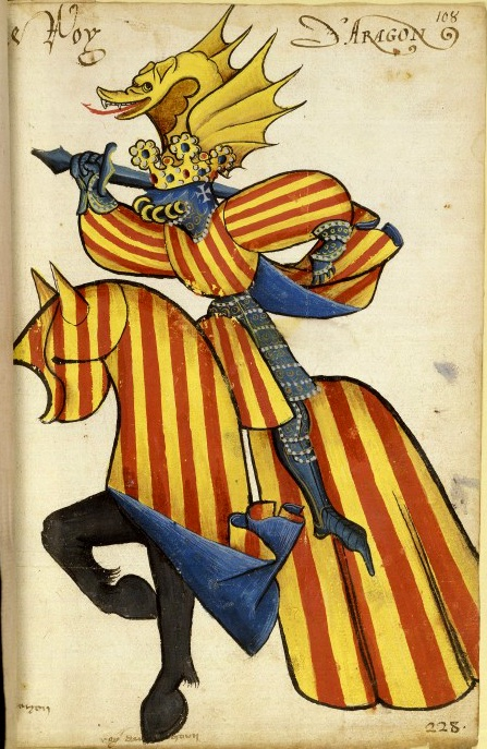 Roy d'Aragón - a knight, in bright yellow and red stripes. Both he and his horse are covered in stripes. 1433-1435