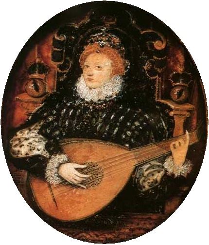 Queen Elizabeth I rocking out on the lute. She's got her crown, and is sort of sitting on a chair (it's a miniature, so this can be a little sus) -- but she's clearly having a very good time. Her hair is red, and her eyebrows are almost there.