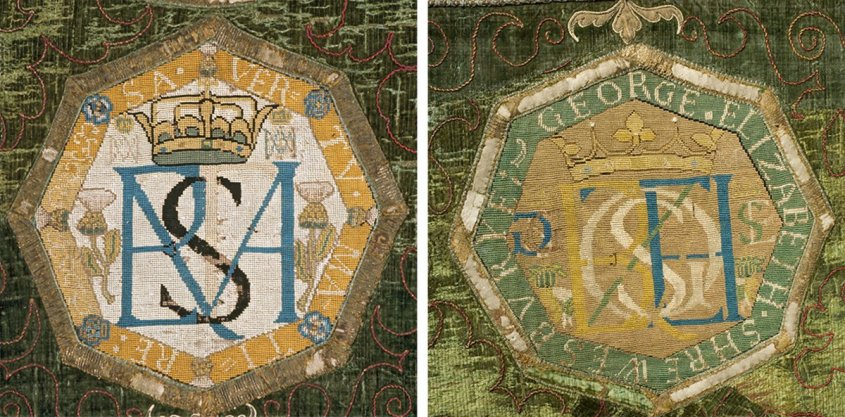 Many of the panels feature Mary and Bess's monograms – Mary's was the letters MA superimposed on the Greek letter Φ, and Bess's the initials ES. The majority of Mary's 'signed' pieces were later sewn onto what is known as 'The Marian Hanging'. The embroideries attributed to Mary suggest that needlework was a powerful means of resistance during a period when both her letters and actions were under constant surveillance.