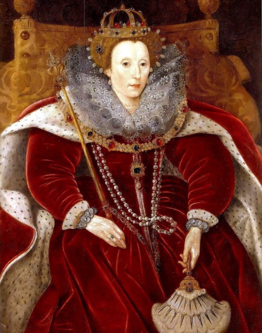 Elizabeth draped in Velvet in her Parliament robes, late in her reign. She looks sallow, but regal.