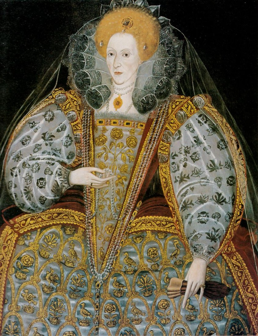 Portrait of Elizabeth I of England in stomacher and petticoat embroidered with roses, birds, and honeysuckle in goldwork and blackwork sleeves, c. 1600