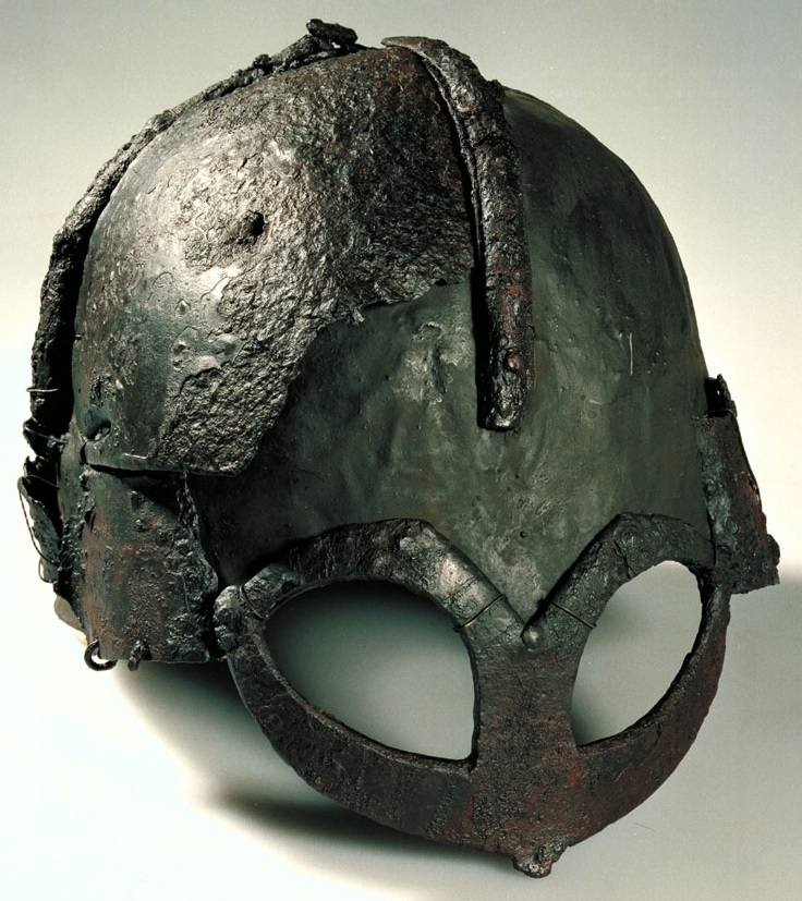 A danish helmet of the period, with almost alien-like eyes. A ridge along the top and sides.
