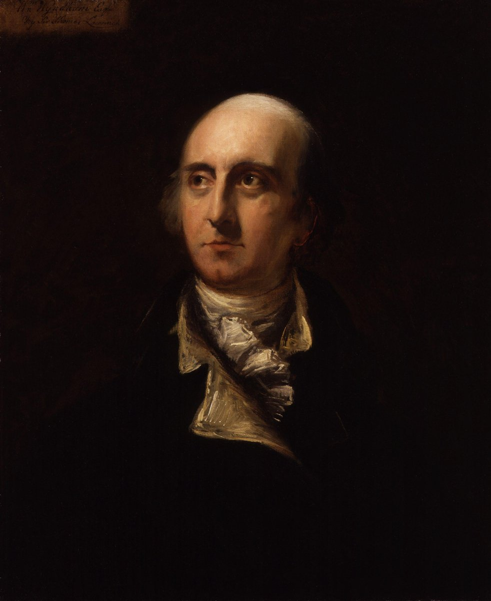 A portrait of a man with hair on the sides of his head, a high neck scarf, and a very dark outfit. He has a long nose and a cleft chin. William Windham by Sir Thomas Lawrence.