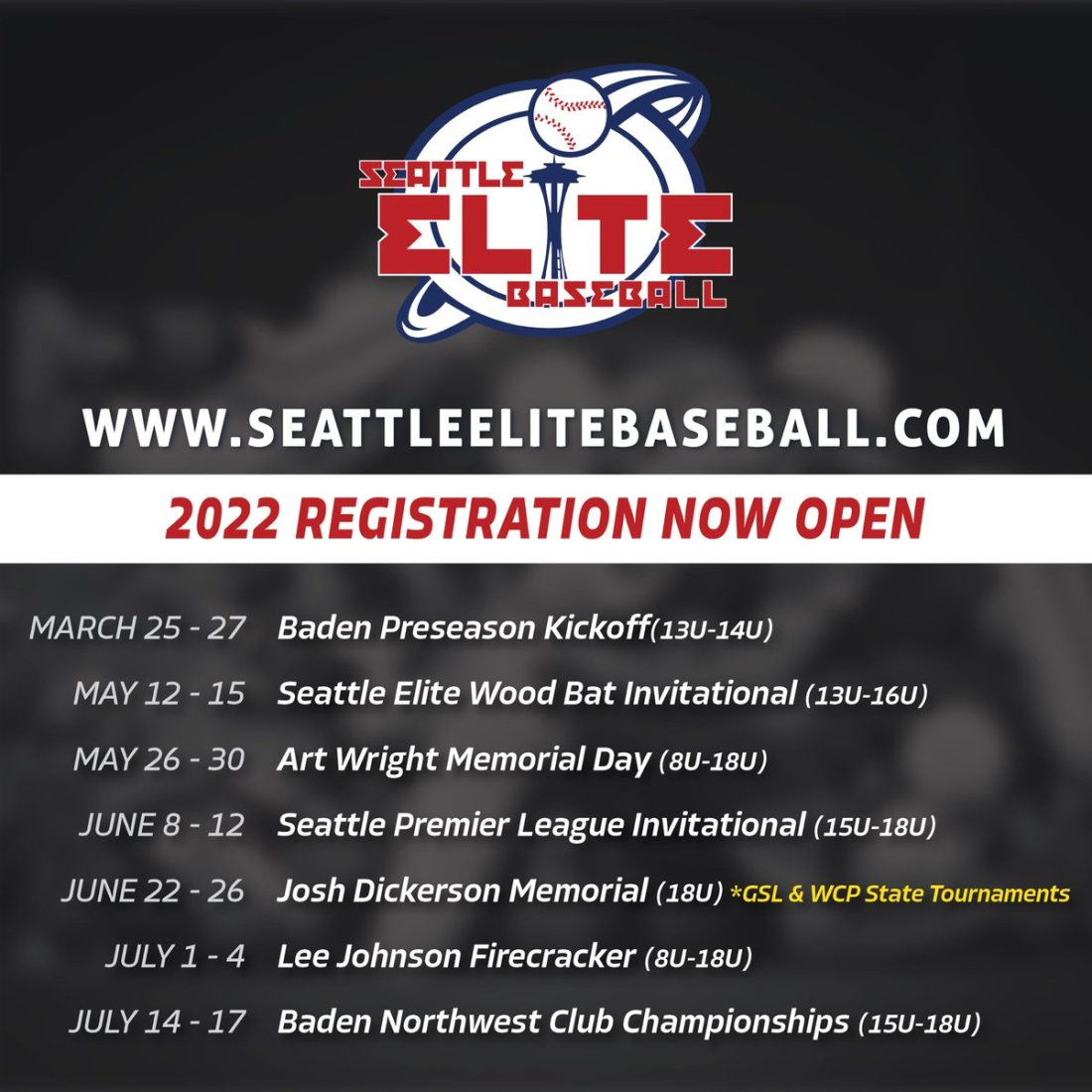 test Twitter Media - Registration is now OPEN for our Seattle Elite 2022 Tournament series! Our annual Art Wright and Lee Johnson tourneys return for another year, and we are thrilled to be joining forces with @GSLtournaments and @WCPTournaments to expand the Josh Dickerson and Baden NW Invitational! https://t.co/DSIF0nvtN9
