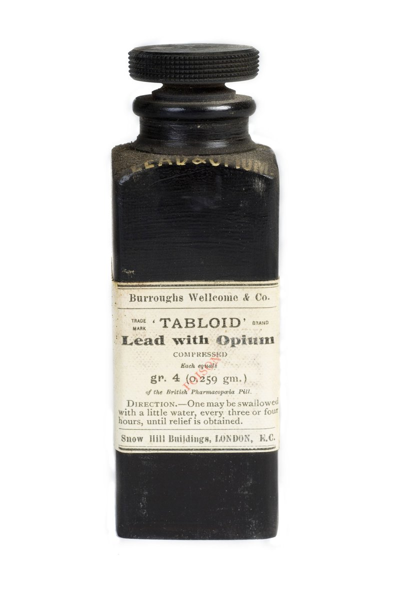 A bottle of lead and opium pills: 'One may be swallowed, with a little water, every three or four hours, until relief is obtained', 1901. Usage terms Creative Commons Attribution licence Held by© Wellcome Images